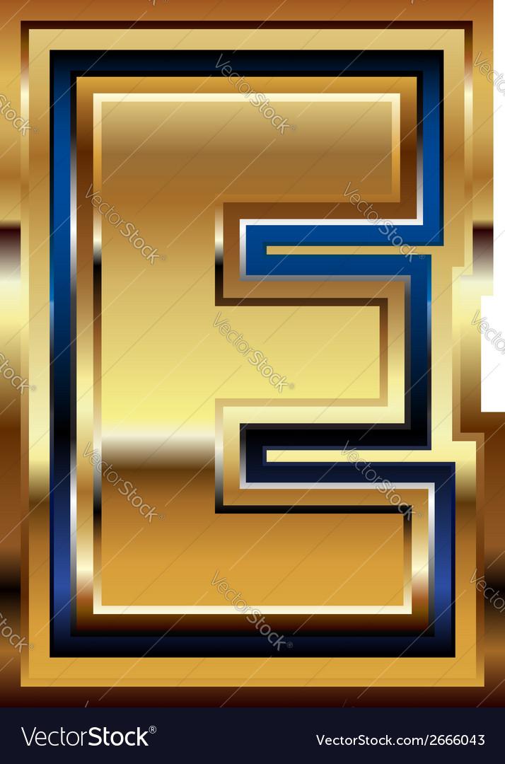 Golden font letter e vector | Price: 1 Credit (USD $1)