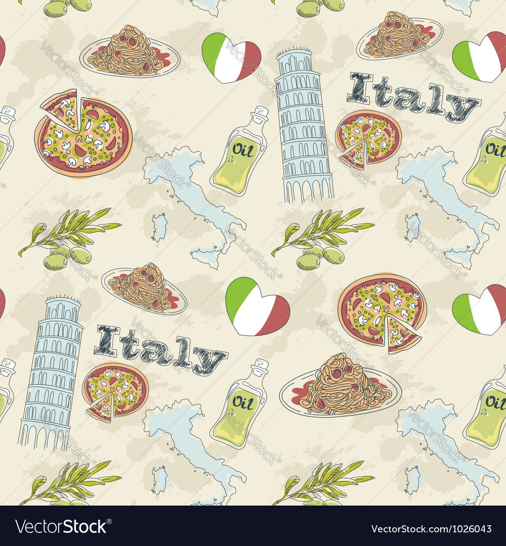 Italy travel grunge seamless pattern vector | Price: 1 Credit (USD $1)