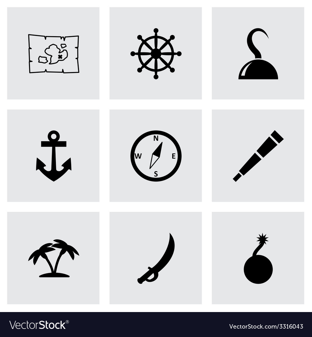 Pirate icon set vector | Price: 1 Credit (USD $1)