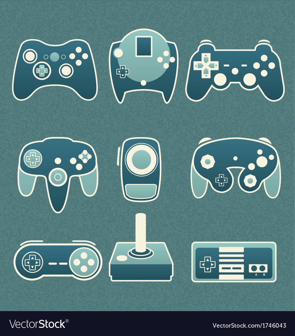 Retro video game remote controls vector | Price: 1 Credit (USD $1)