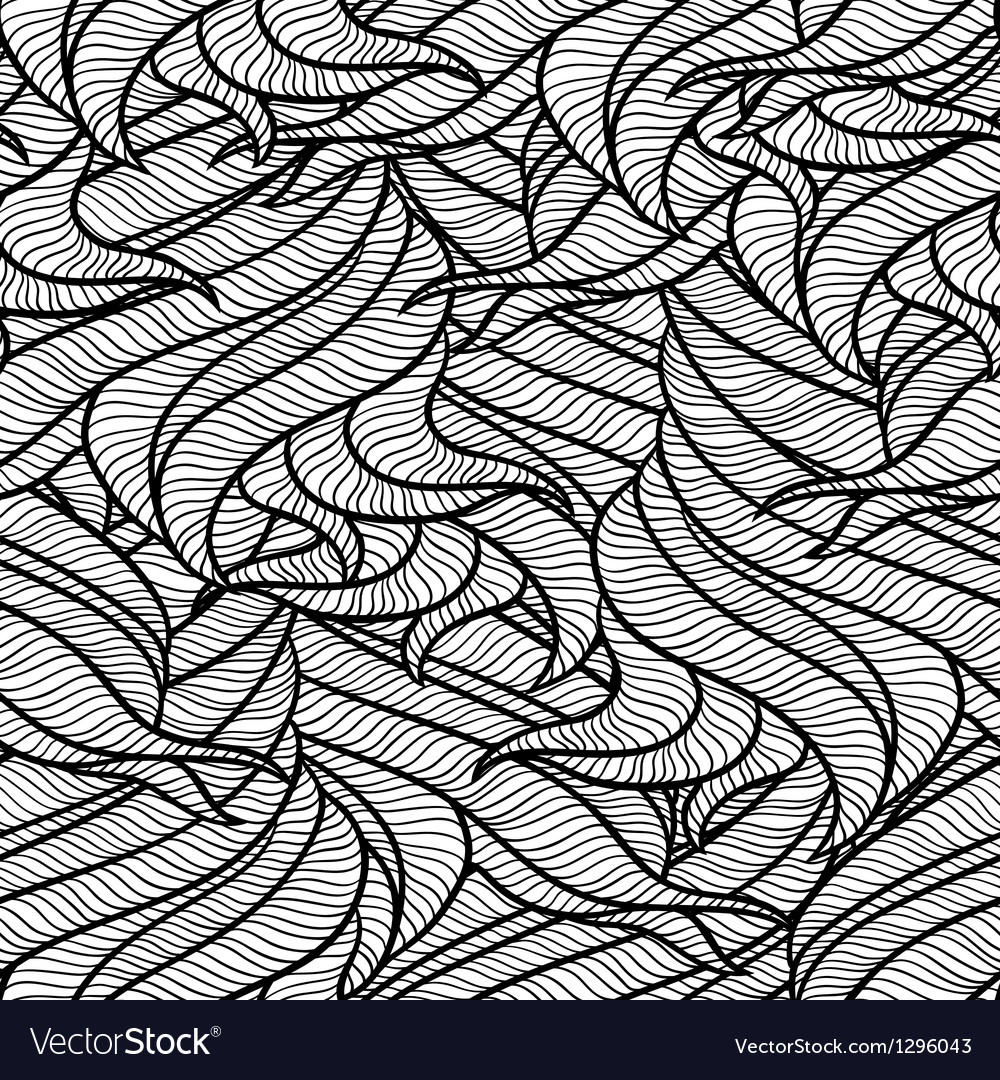 Seamless wave abstract hand drawn pattern vector   Price: 1 Credit (USD $1)