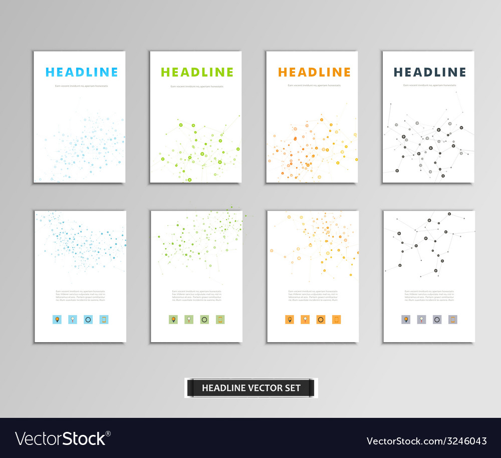 Set of artwork with molecular background vector | Price: 1 Credit (USD $1)