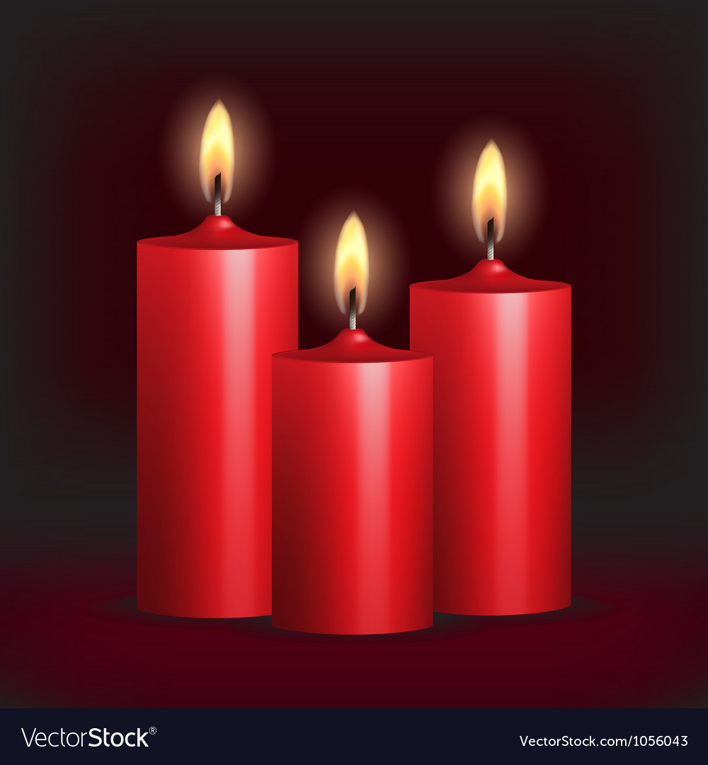 Three red burning candles on black background vector | Price: 1 Credit (USD $1)