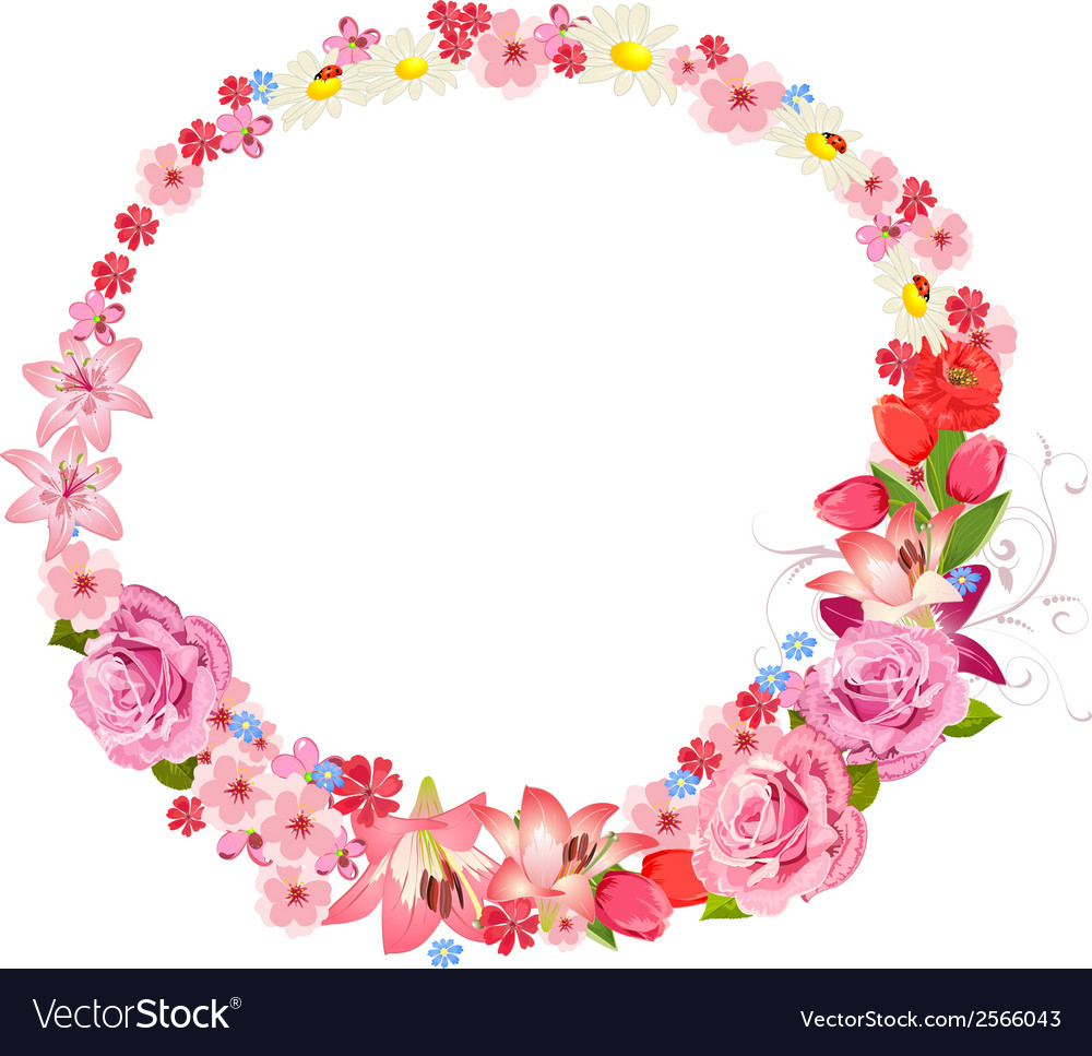 Wreath of flowers vector | Price: 1 Credit (USD $1)