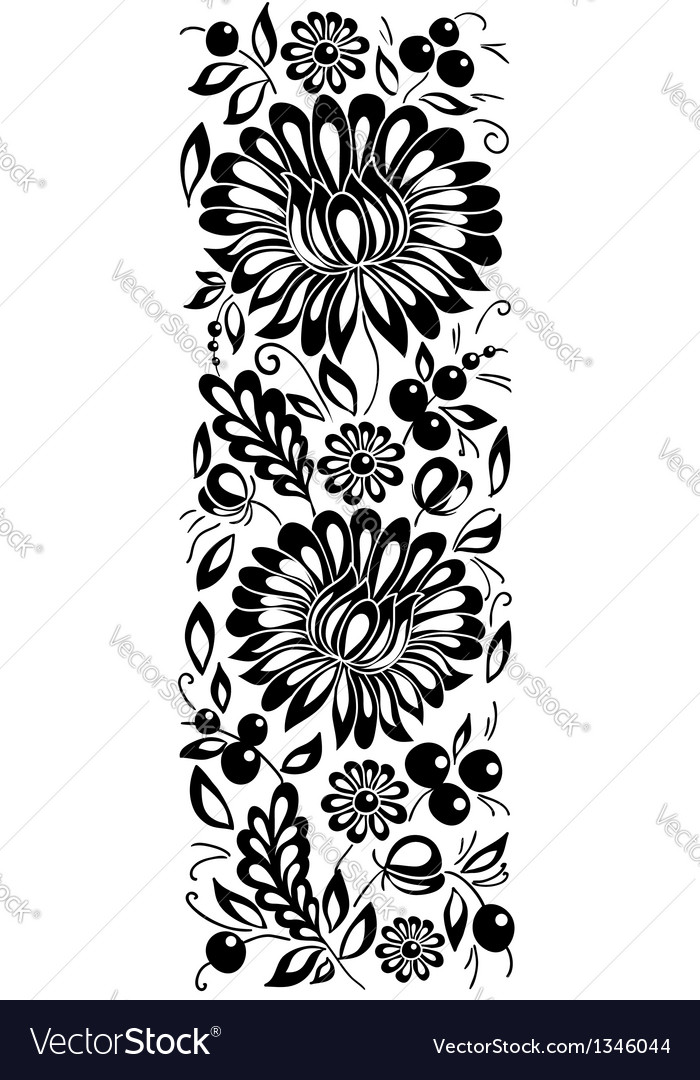 Black-and-white flowers and leaves floral design e vector | Price: 1 Credit (USD $1)