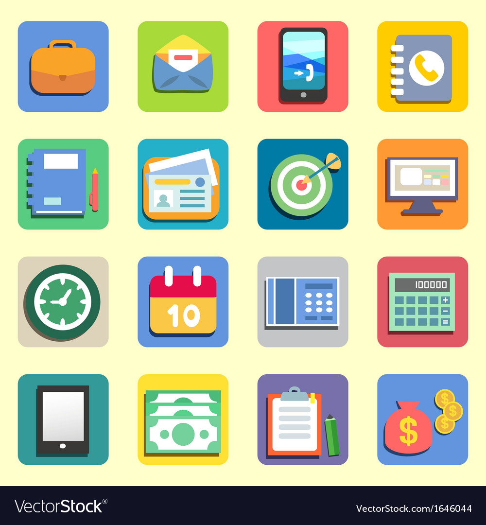 Business flat icons vector | Price: 1 Credit (USD $1)