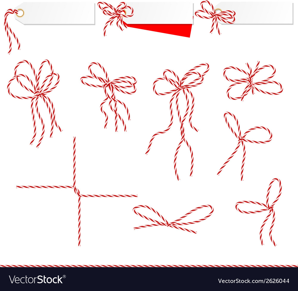 Collection of ribbons ahd bows in twine style vector   Price: 1 Credit (USD $1)