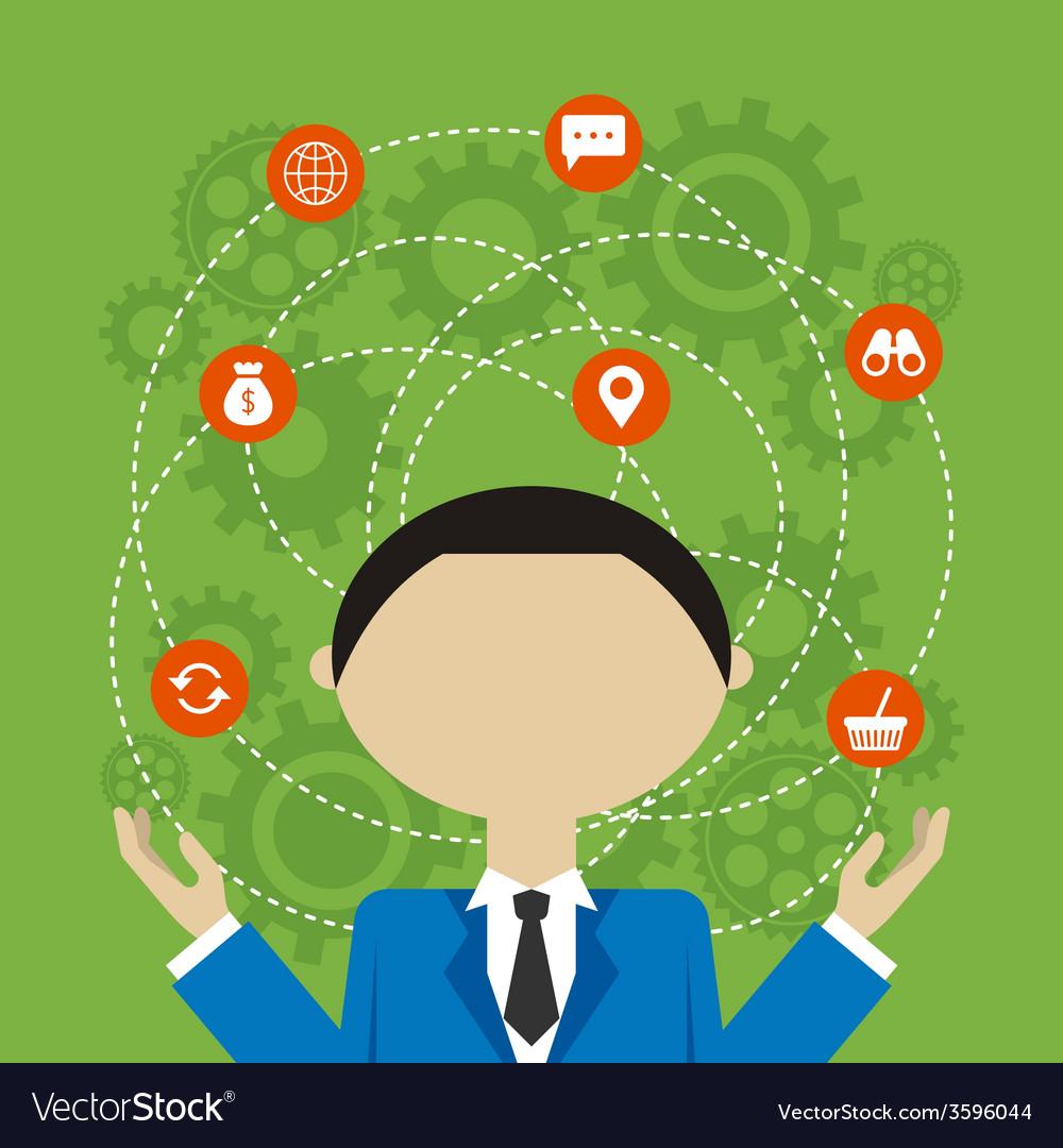 Flat design concept of businessman management or vector | Price: 1 Credit (USD $1)