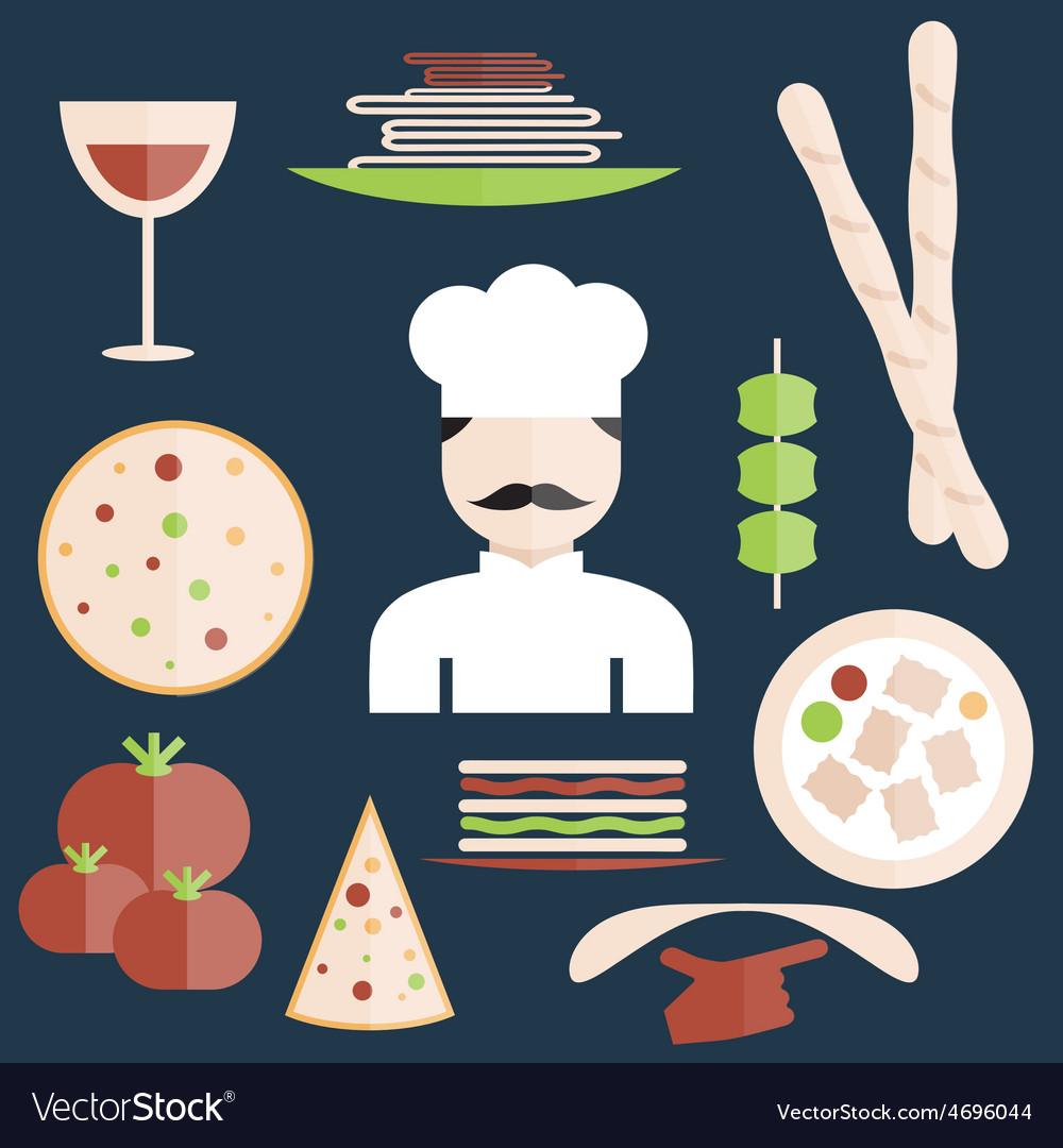 Flat design italian cuisine elements and chef vector | Price: 1 Credit (USD $1)