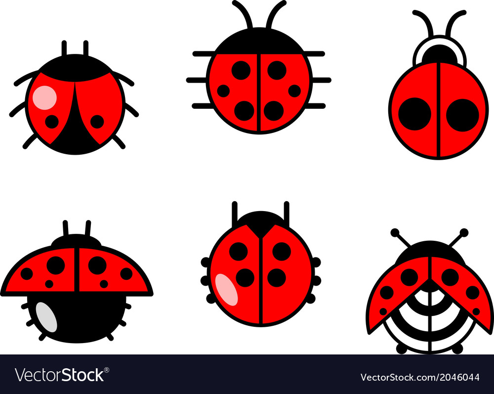Ladybugs and beetles icons set vector | Price: 1 Credit (USD $1)