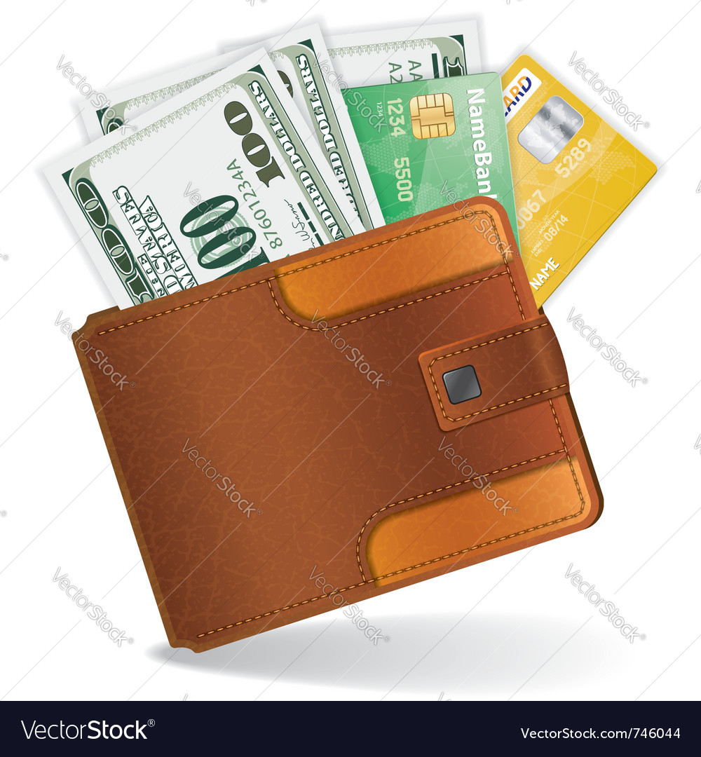 Leather wallet vector | Price: 3 Credit (USD $3)