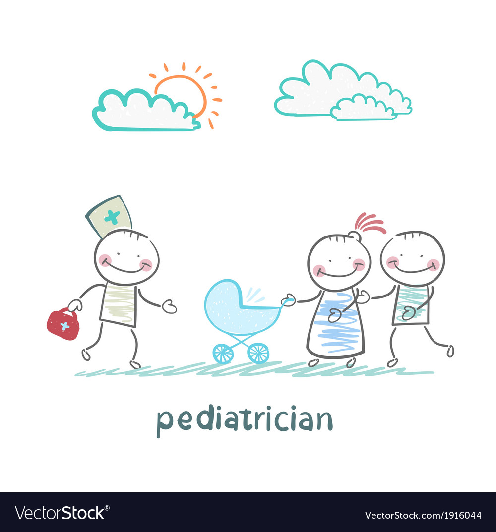 Pediatrician came to the sick child in the vector | Price: 1 Credit (USD $1)