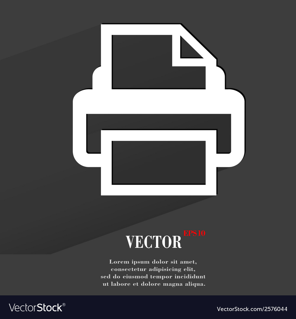 Printer flat modern web button with long shadow vector | Price: 1 Credit (USD $1)