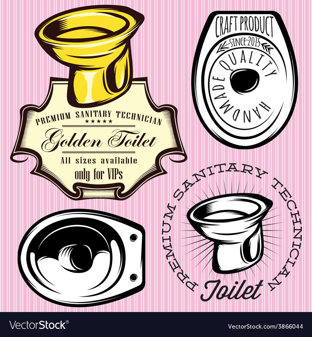 Set of elements for making logos with toilet bowl vector | Price: 1 Credit (USD $1)