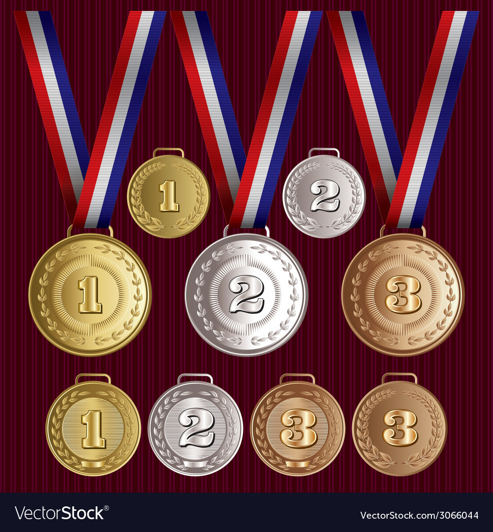 Set of patterns medals of gold silver bronze vector | Price: 1 Credit (USD $1)