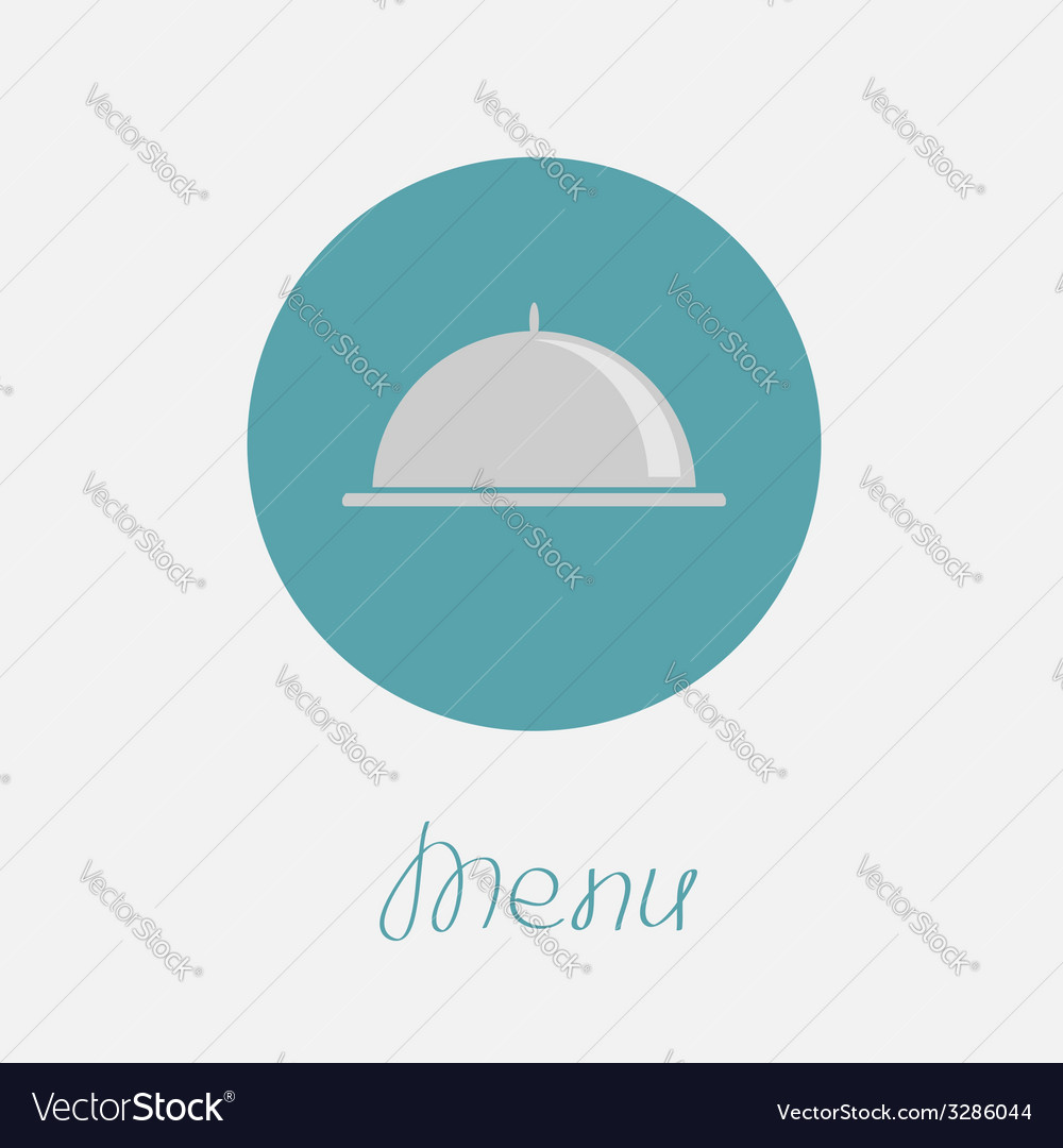 Silver platter cloche circle icon flat design menu vector | Price: 1 Credit (USD $1)