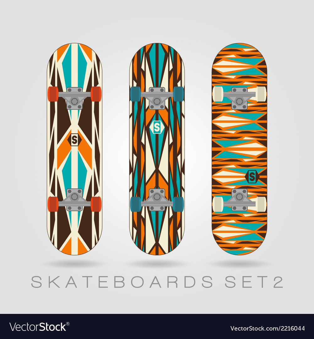 Skateboard set retro tracery vector | Price: 1 Credit (USD $1)