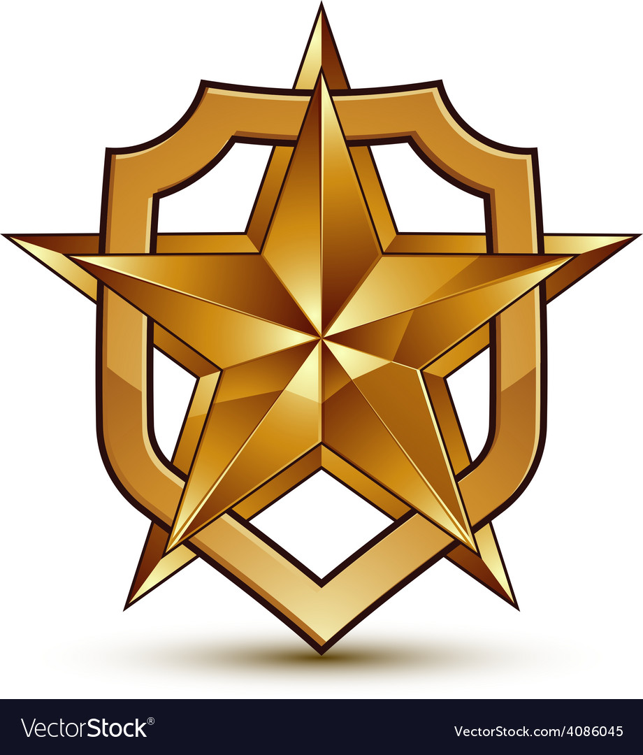 3d heraldic template with pentagonal golden star vector | Price: 1 Credit (USD $1)