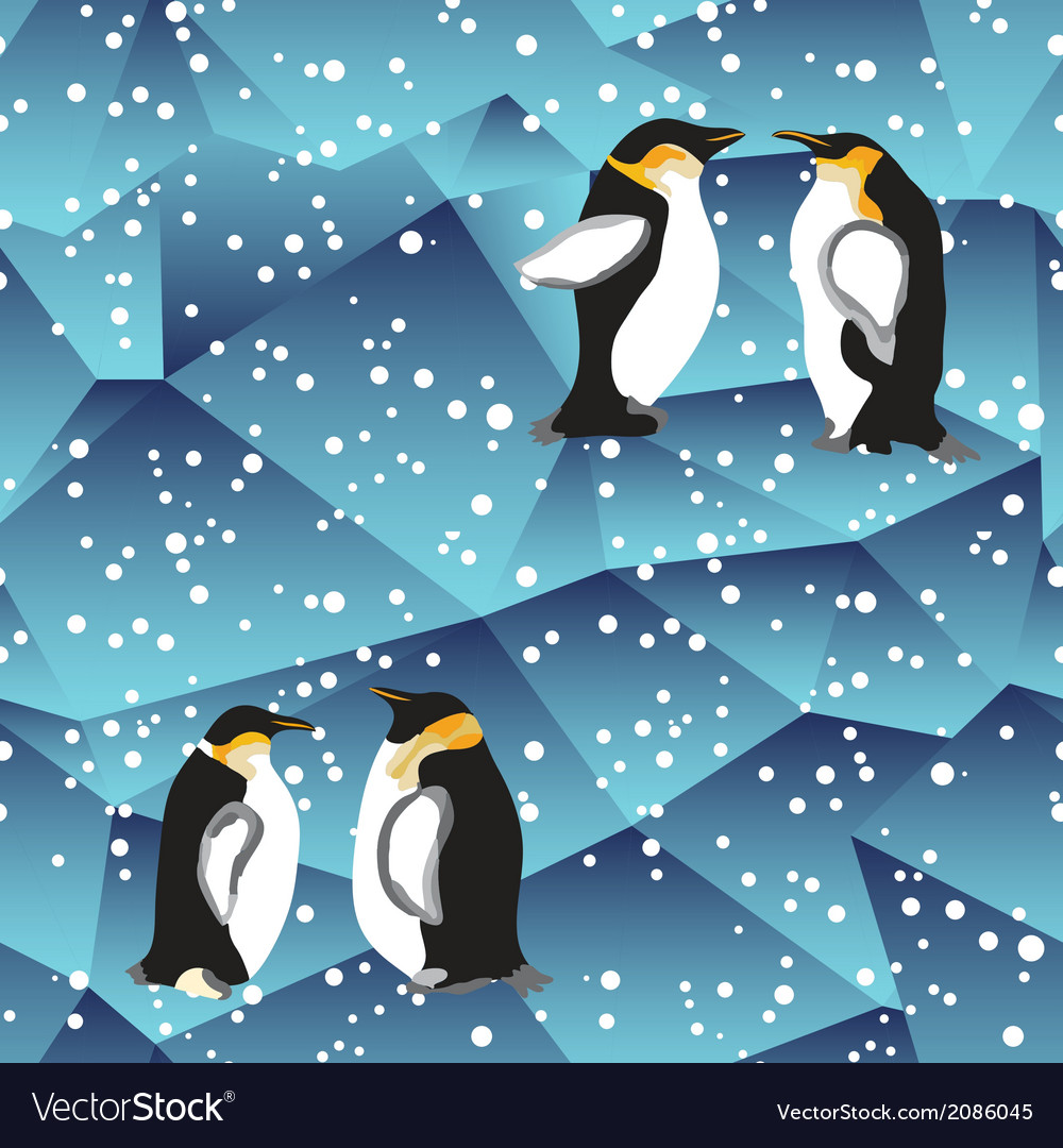 Blue crystal ice background texture with penguin vector | Price: 1 Credit (USD $1)