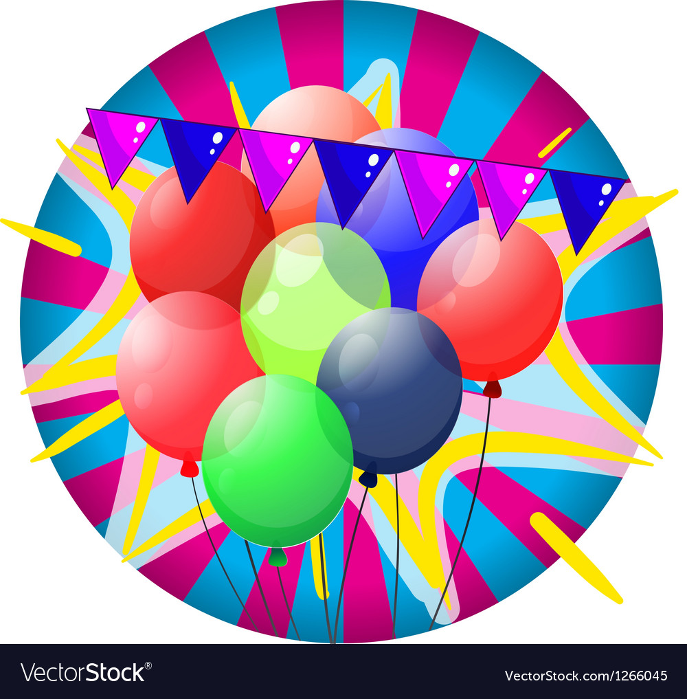 Colorful balloons inside the big circle vector | Price: 1 Credit (USD $1)