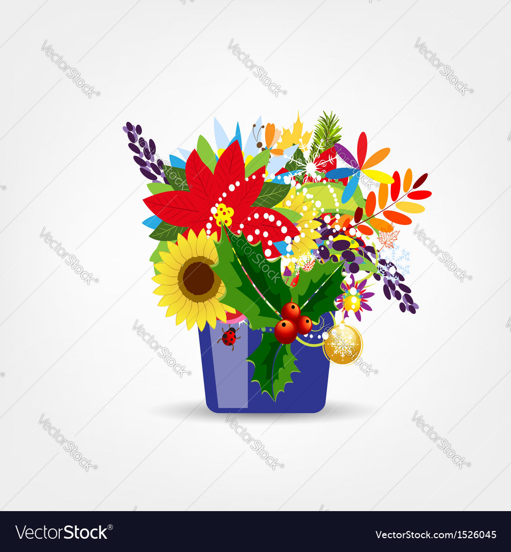 Floral pot isolated for your design vector | Price: 1 Credit (USD $1)