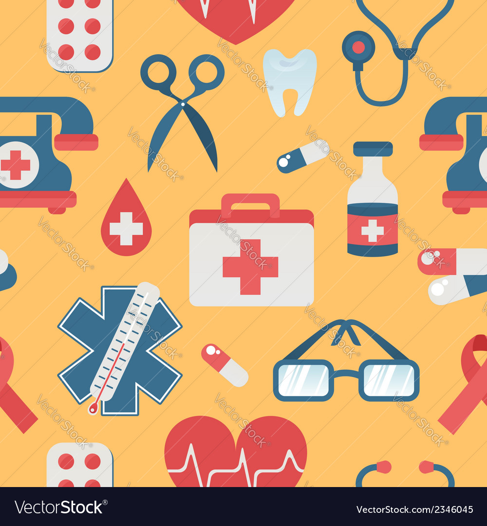 Medical seamless pattern in trendy flat style vector | Price: 1 Credit (USD $1)