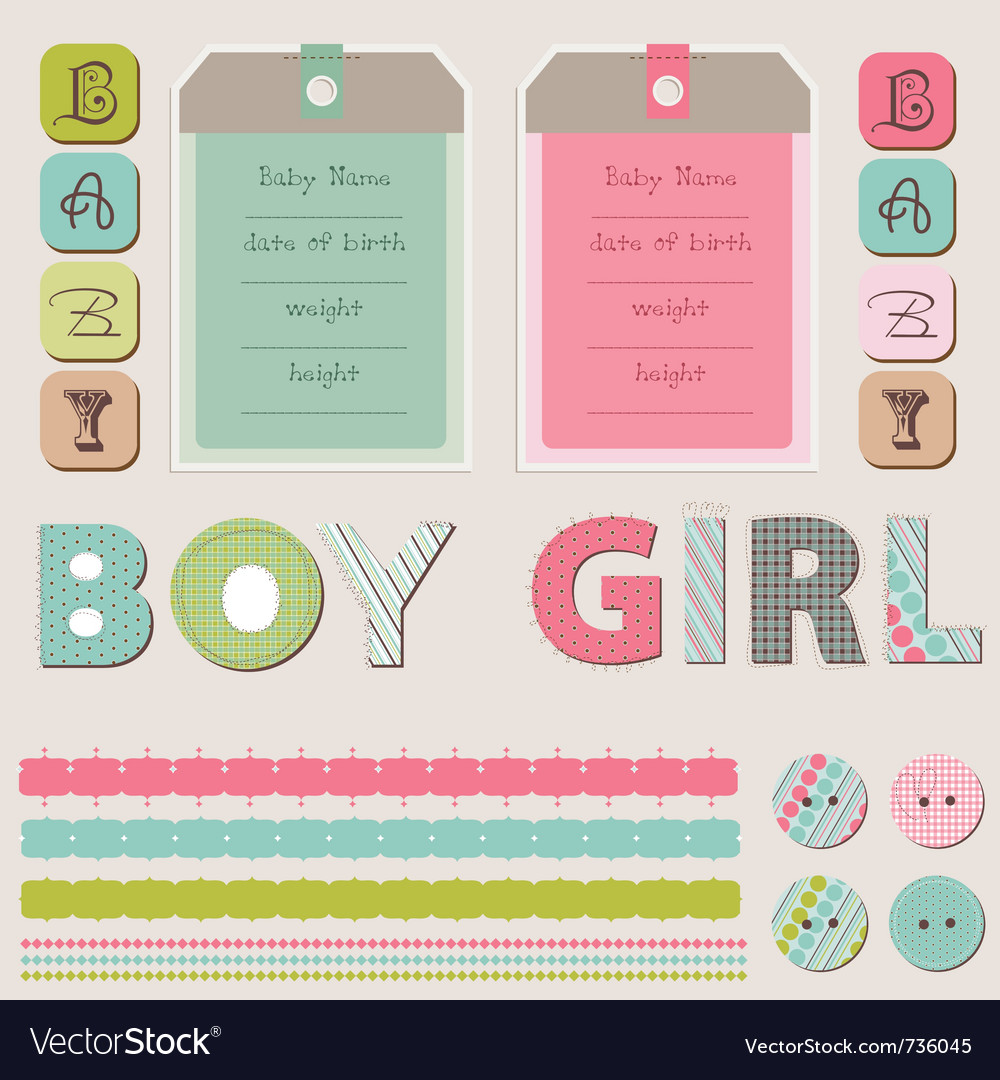 Scrapbook baby girl and boy set vector | Price: 1 Credit (USD $1)