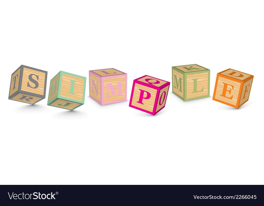 Word simple written with alphabet blocks vector | Price: 1 Credit (USD $1)