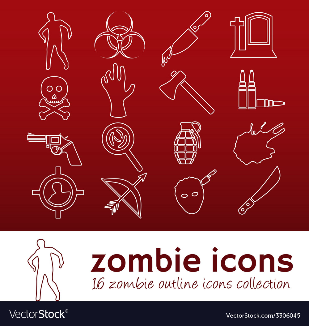 Zombie outline icons vector | Price: 1 Credit (USD $1)