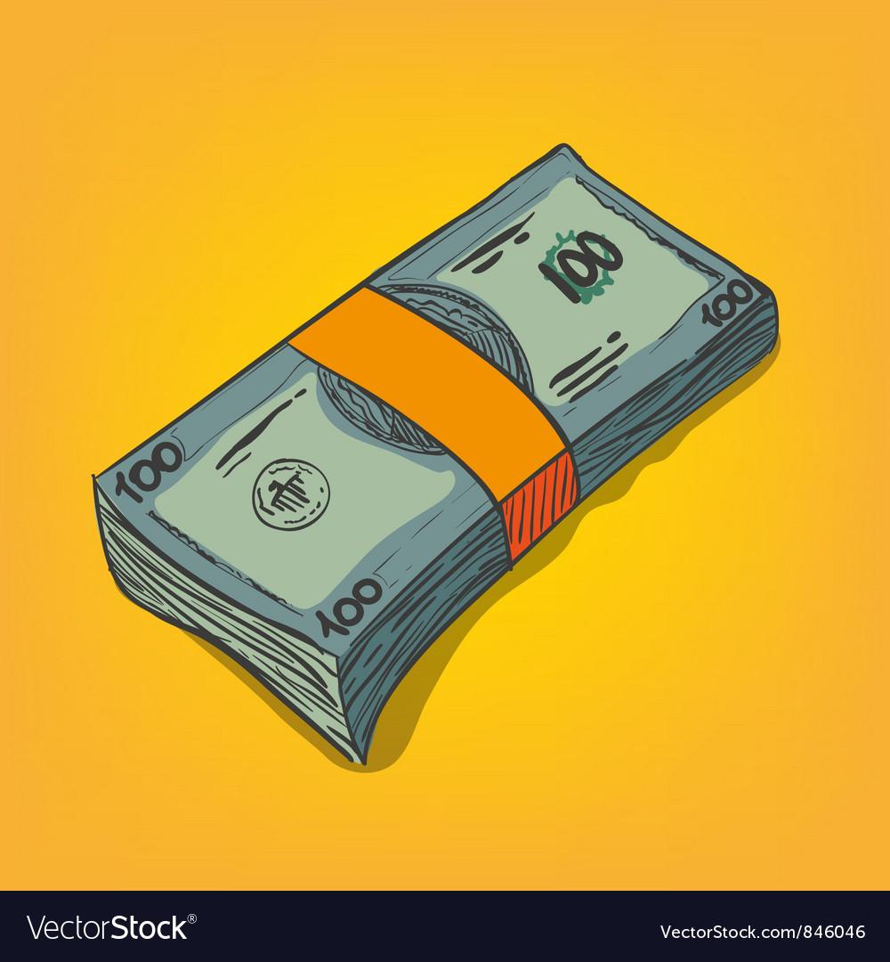 Bunch of money bills vector | Price: 1 Credit (USD $1)