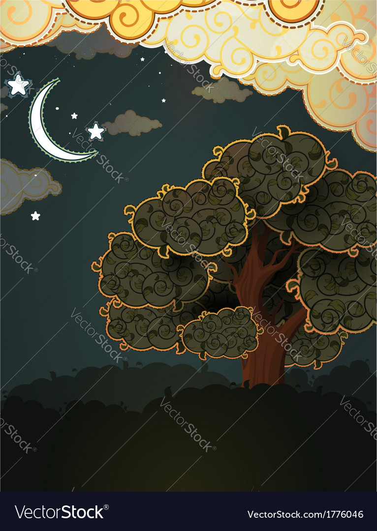 Cartoon landscape tree clouds and moon vector | Price: 1 Credit (USD $1)
