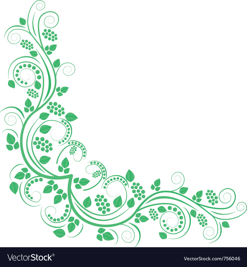 Floral decorative corner green vector | Price: 1 Credit (USD $1)