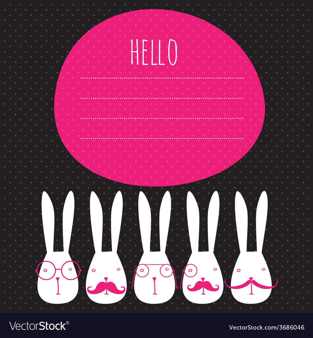Greeting card with rabbits vector | Price: 1 Credit (USD $1)