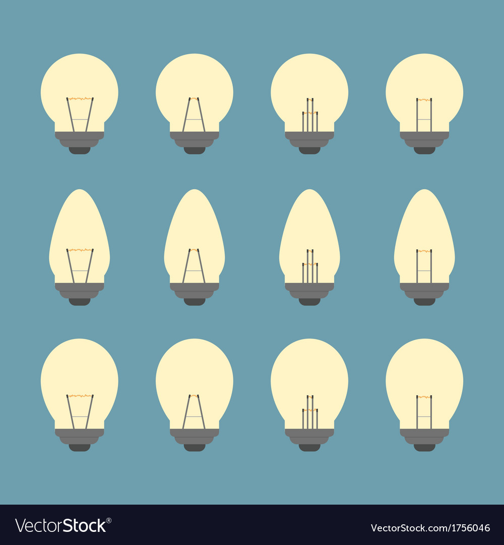Light bulbs and bulb icon set vector | Price: 1 Credit (USD $1)