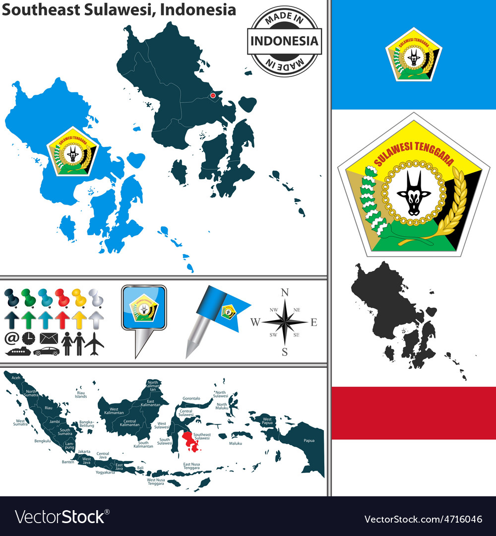 Map of southeast sulawesi vector | Price: 1 Credit (USD $1)