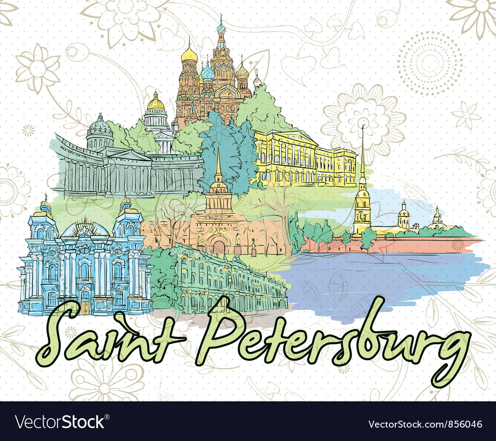 Saint petersburg doodles vector | Price: 1 Credit (USD $1)