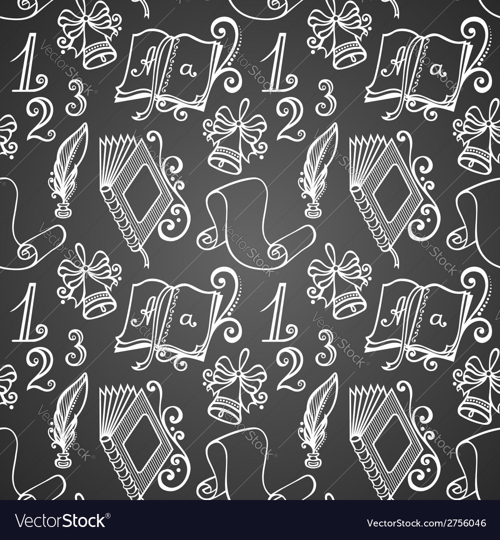 Seamless pattern with school supplies vector | Price: 1 Credit (USD $1)