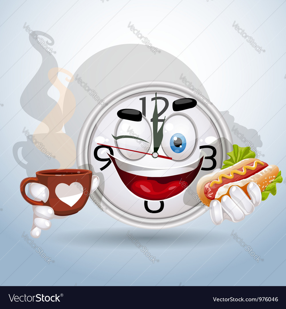 Watch smiley enjoying lunch break vector | Price: 3 Credit (USD $3)