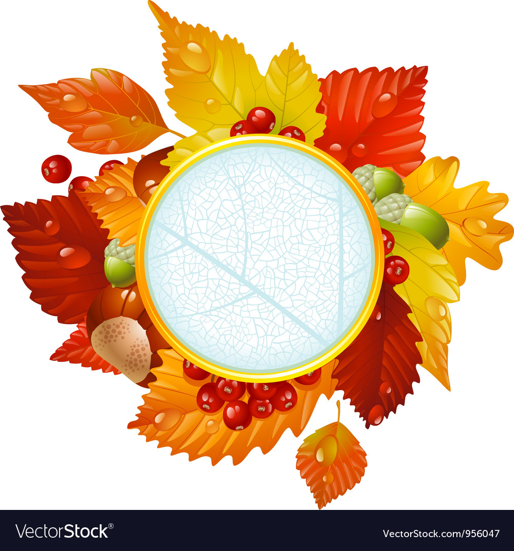 Autumnal round frame with fall leaf vector | Price: 3 Credit (USD $3)