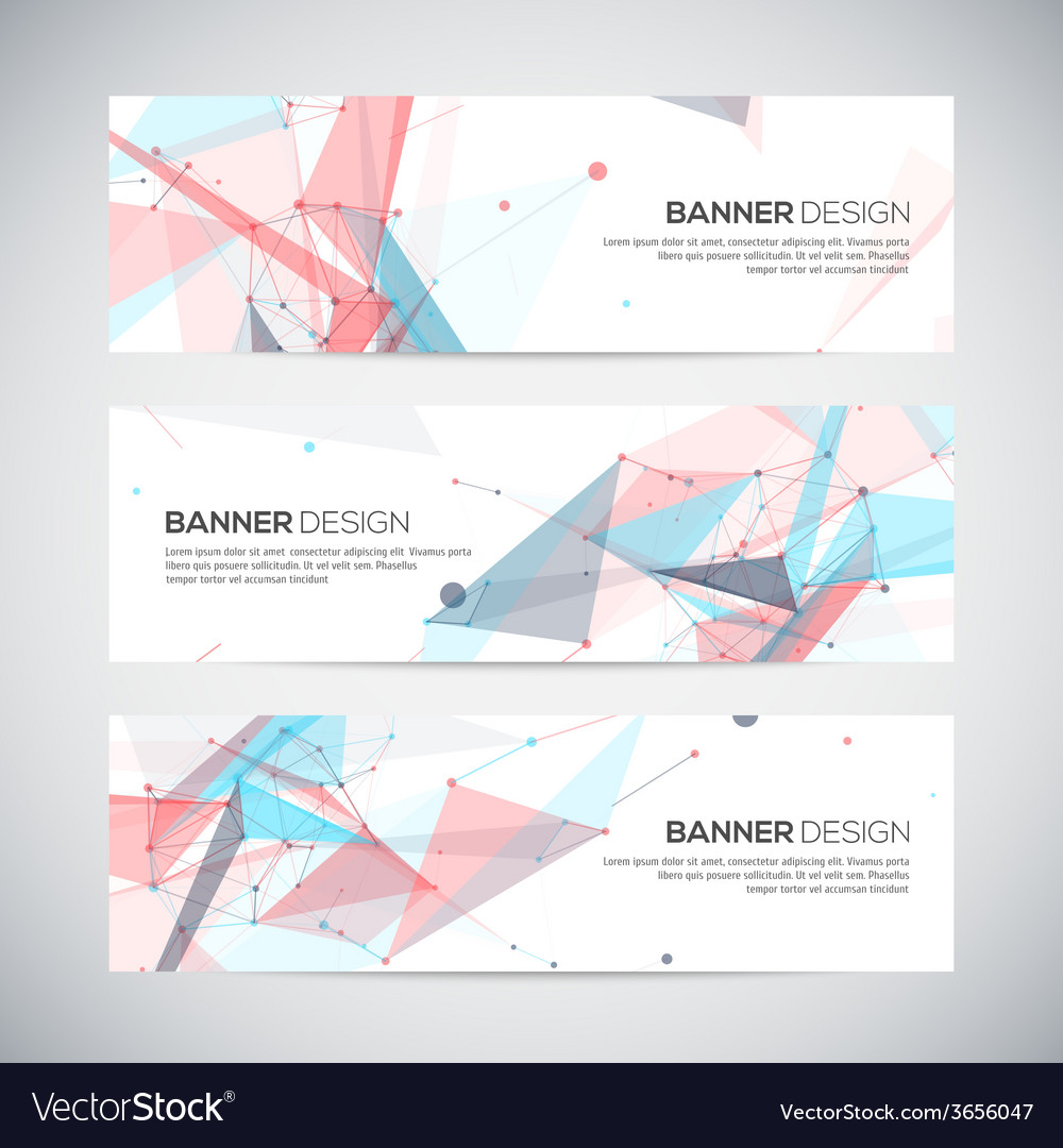 Banners set with polygonal abstract shapes circles vector   Price: 1 Credit (USD $1)