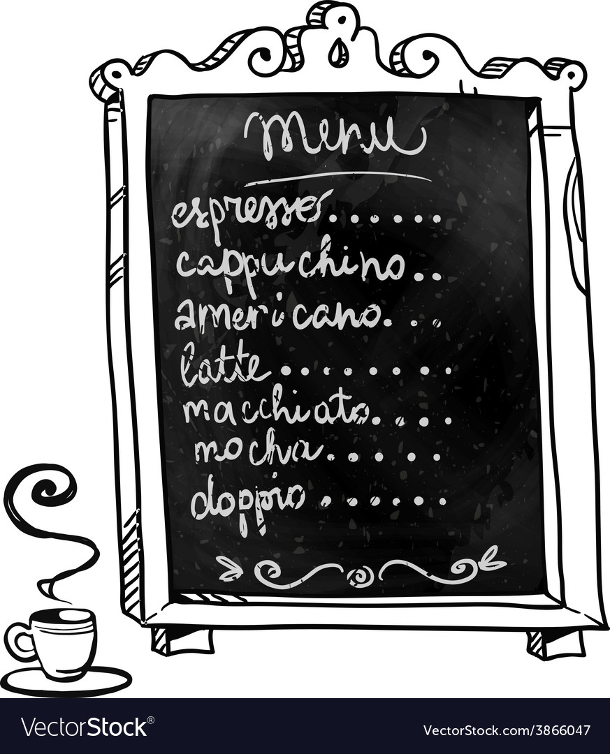 Coffee shop menu on a chalkboard vector | Price: 1 Credit (USD $1)