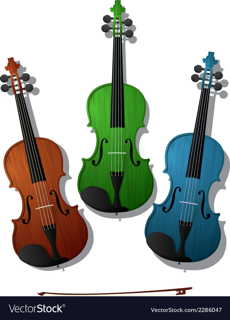 Colored violins vector | Price: 1 Credit (USD $1)