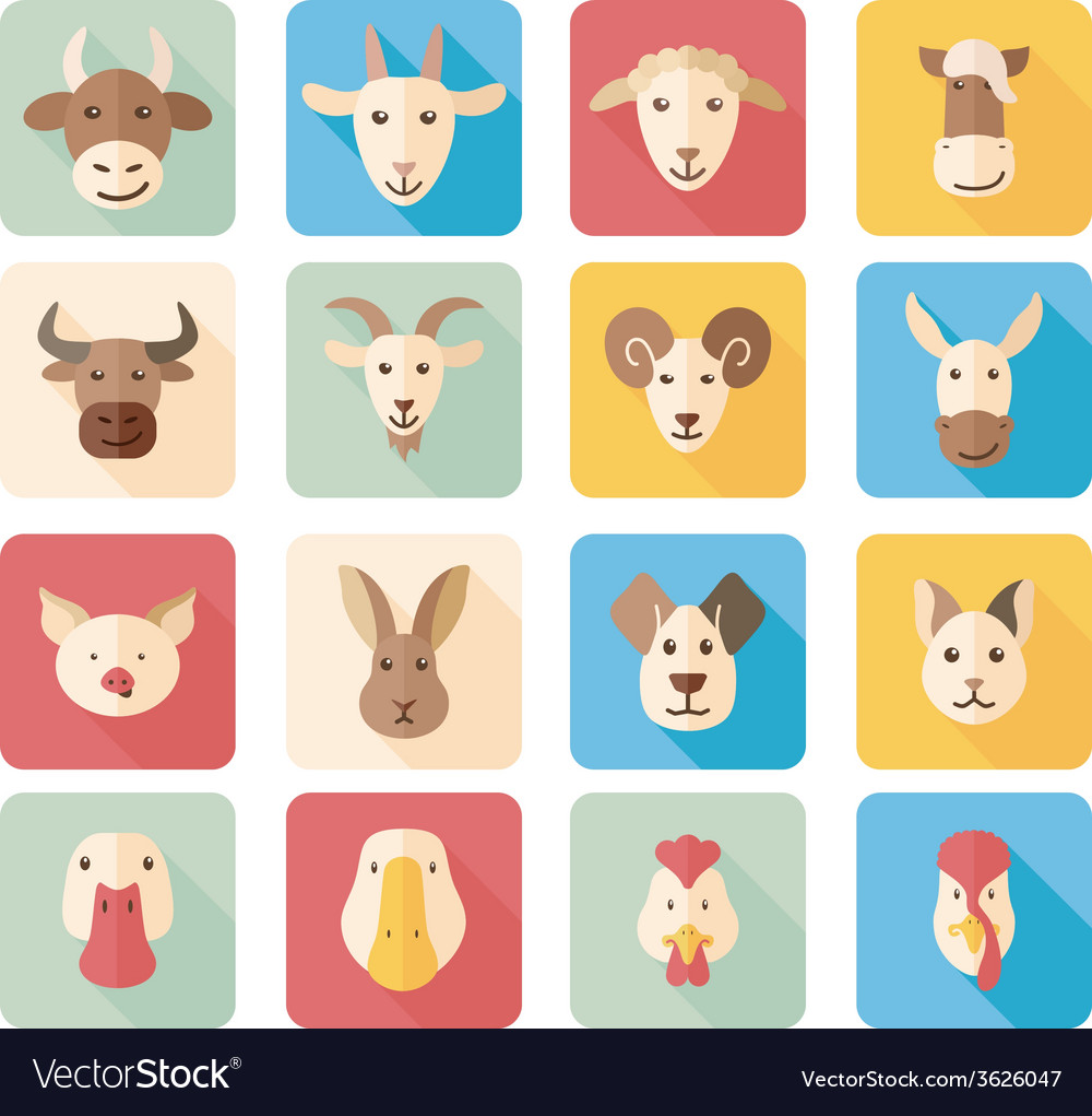 Farm animals flat icons with long shadow vector | Price: 1 Credit (USD $1)