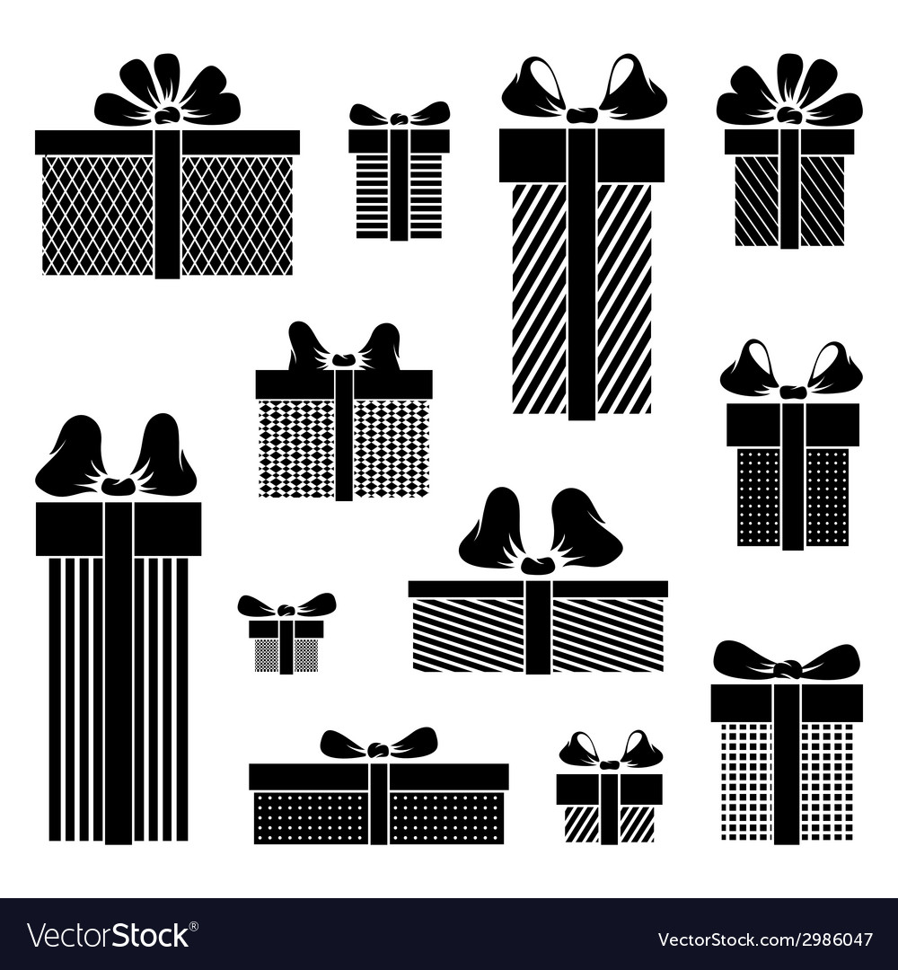 Gift box pictograms on white background vector | Price: 1 Credit (USD $1)
