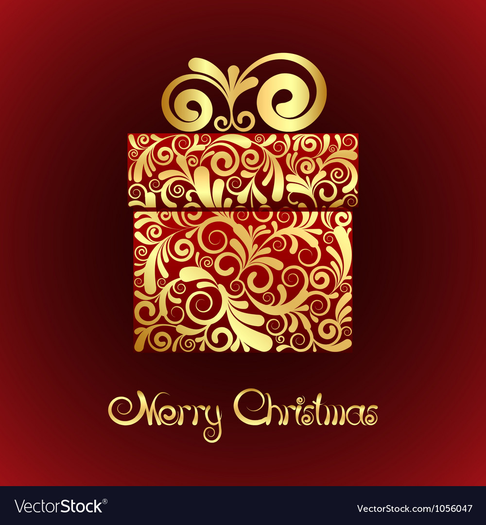 Gift box with gold ornament vector | Price: 1 Credit (USD $1)
