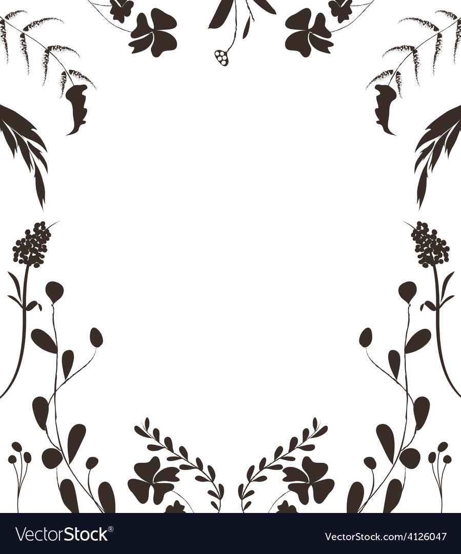 Hand drawn silhouette frame background vector