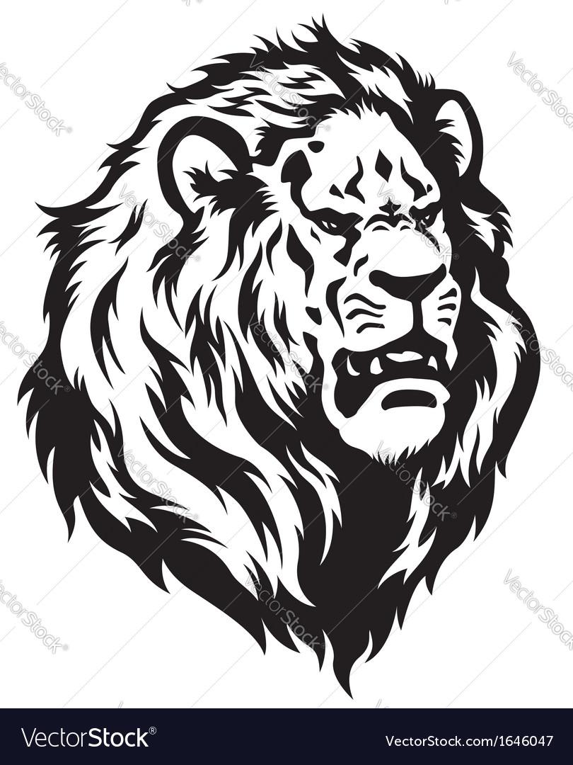 Head of lion black white vector | Price: 1 Credit (USD $1)