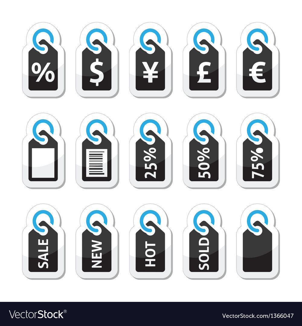 Shopping price tag sale icons set vector | Price: 1 Credit (USD $1)