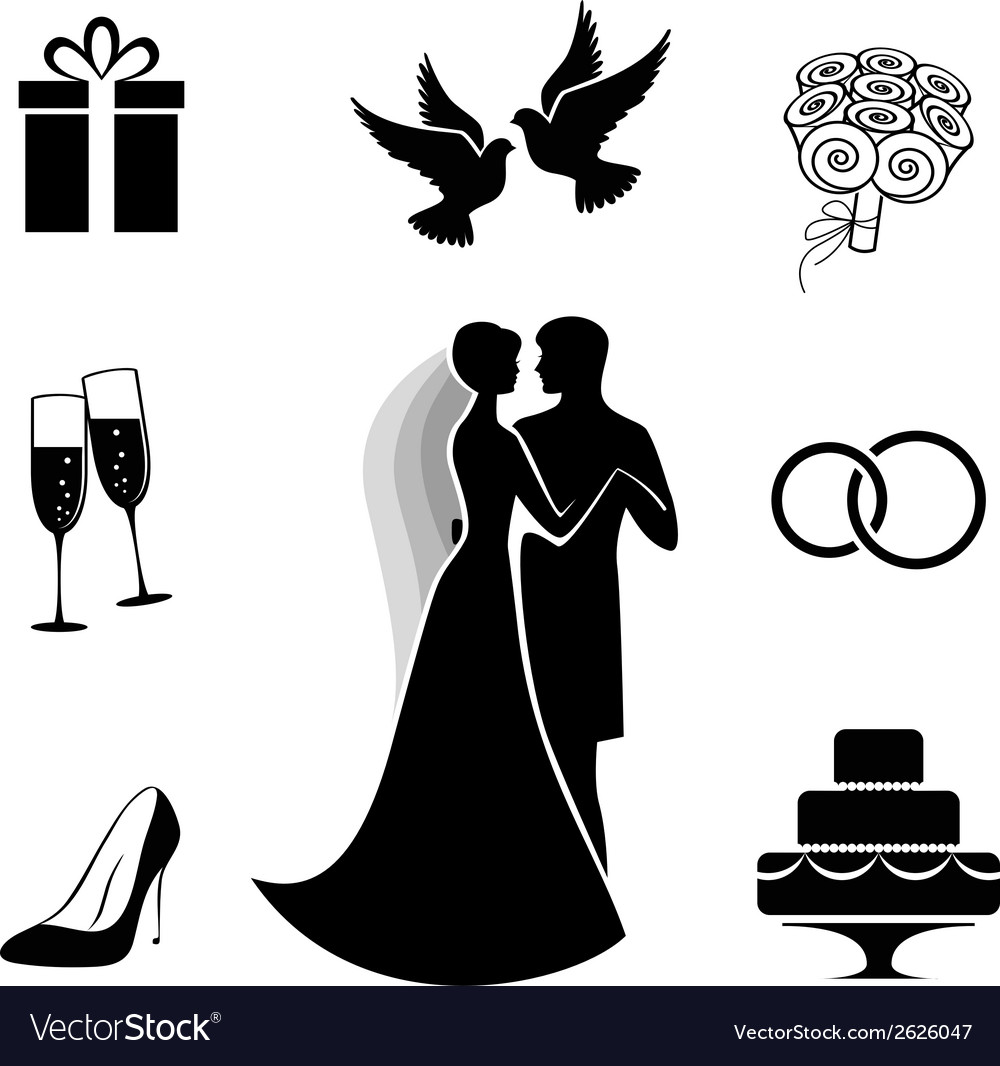 Wedding icon collection isolated on white vector | Price: 1 Credit (USD $1)