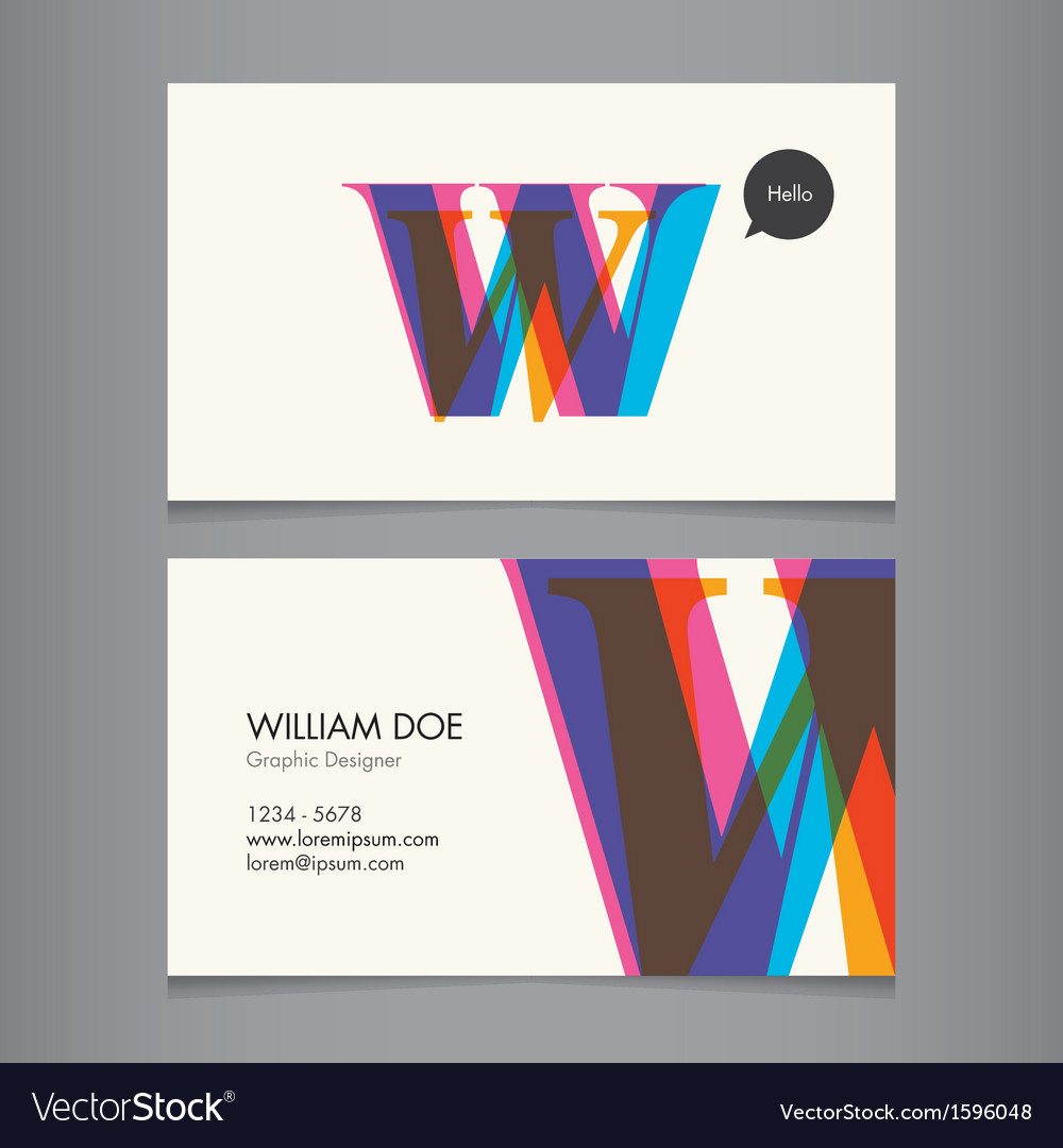 Business card template letter w vector | Price: 1 Credit (USD $1)